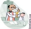 Vector Clipart image  of an Alter boy with priest