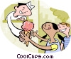Vector Clip Art image  of a kids buying ice cream