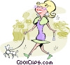 Vector Clipart image  of a woman walking dog with