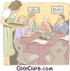 people dining in restaurant Vector Clipart illustration