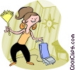 Vector Clip Art image  of a woman housecleaning