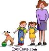 Vector Clip Art graphic  of a Mother with children and dog