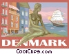 Denmark postcard design Vector Clipart illustration