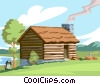 hewn-wood squared log style cabin Vector Clipart graphic