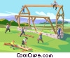 barn raising Vector Clipart graphic