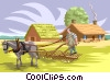 Vector Clipart illustration  of a early farming
