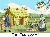 pilgrims first housing, wattle-and-daub cabins Vector Clip Art image