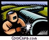 Vector Clip Art picture  of a welding a pipeline