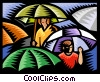 Standing under umbrella; rain Vector Clipart picture