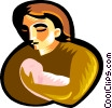 Vector Clip Art graphic  of a woman holding child
