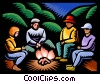Family sitting around campfire Vector Clipart picture