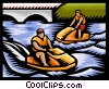 Vector Clip Art graphic  of a People riding jet skis