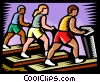 People on treadmills at fitness club Vector Clip Art picture