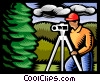 Vector Clip Art image  of a Land surveyor