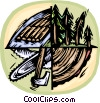 Vector Clipart picture  of a logging industry