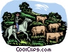 farm life, cattle farming Vector Clip Art image