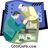 Vector Clip Art graphic  of a scientists observing results