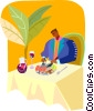 Vector Clip Art image  of a dining alone