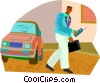 Vector Clipart graphic  of a keeping in touch on the go