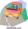 Vector Clipart graphic  of a driving the bus