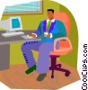 Vector Clipart picture  of a checking email