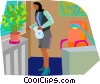 Vector Clipart graphic  of a office environment plants