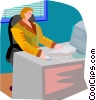 Vector Clip Art picture  of a computer work