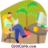 Vector Clipart image  of a reflecting on work