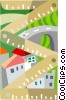 Vector Clip Art graphic  of a measuring housing development