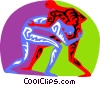 Vector Clip Art graphic  of a wrestling with an opposing