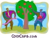 Vector Clip Art image  of a gathering the fruits of labor