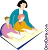 Tutoring special needs children Vector Clipart graphic