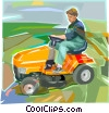Vector Clip Art picture  of a Man cutting lawn with riding