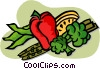 Red pepper with asparagus, peas and broccoli Vector Clipart graphic