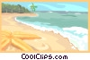 Beach, ocean and star fish Vector Clipart picture