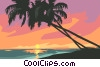 Vector Clipart picture  of a tropical sunset