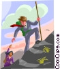 Vector Clip Art image  of a mountain climbing