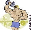 Vector Clip Art graphic  of a weightlifter