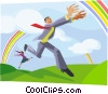 chasing rainbows Vector Clipart graphic