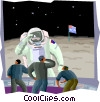 walking on the moon Vector Clip Art image