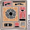 Vector Clipart graphic  of a soccer design
