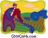 farmer, working in a field, tractor Vector Clip Art picture