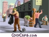 Vector Clipart picture  of a factory workers cleaning up