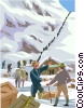 Team of people crossing mountain Vector Clipart picture