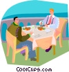 Vector Clipart graphic  of a doing lunch