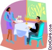 dinner, waitress Vector Clipart illustration