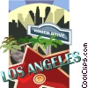 Vector Clip Art image  of a Los Angeles and Rodeo Drive