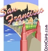 San Francisco and Golden Gate bridge Vector Clipart graphic