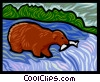 Vector Clipart graphic  of a bear catching fish
