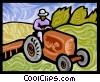 farmer, tractor Vector Clipart picture
